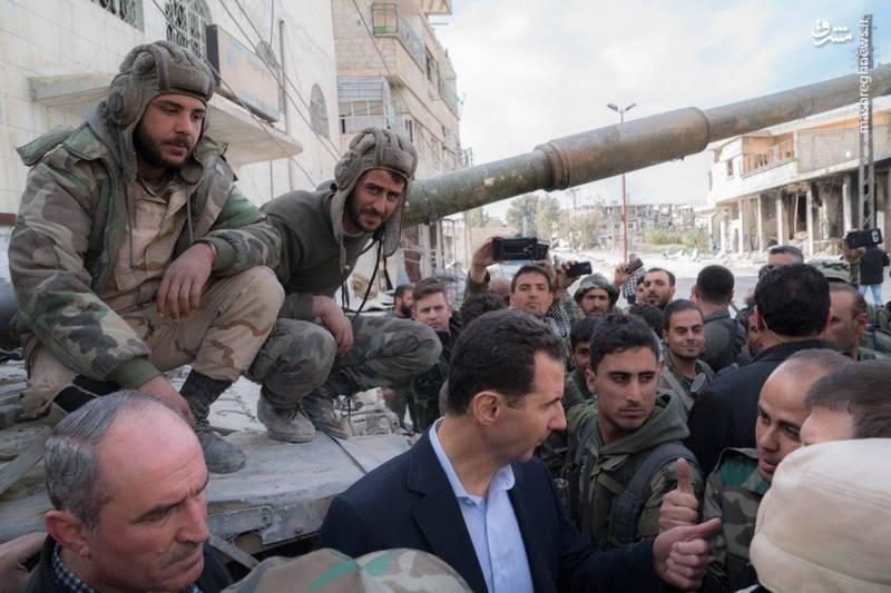 حضور بشار اسد در پشت خطوط مقدم در غوطه شرقی دمشق و بازدید از نیروهای ارتش سوریه