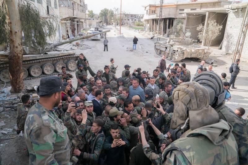 حضور بشار اسد در خط مقدم نبرد غوطه شرقی
