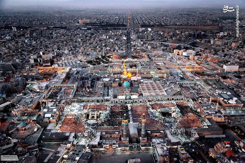 تصویر هوایی زیبا از حرم امام رضا(ع)