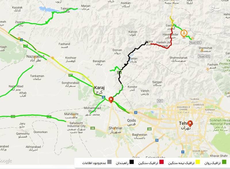 نقشه ترافیکی جاده های کشور