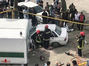 عکس/ برخورد مرگبار پراید با کانکس نوروزی پلیس