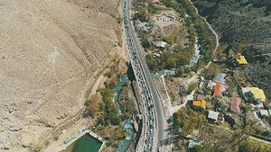 عکس هوایی از وضعیت ترافیکی جاده هراز