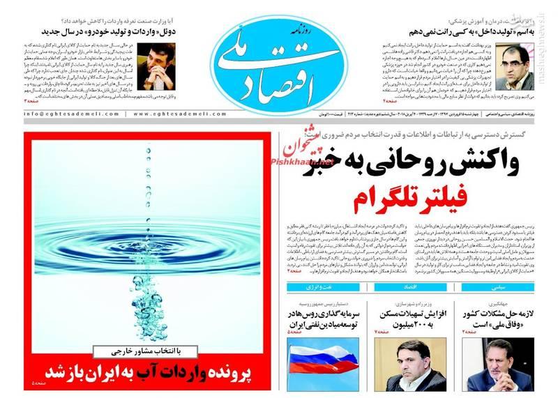 اقتصاد ملی: واکنش روحانی به خبر فیلتر تلگرام