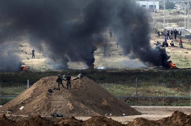 استقرار نظامیان و تکتیراندازان ارتش رژیم صهیونیستی در نزدیکی مرز غزه برای مقابله با راهپیمایی بازگشت