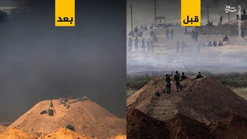 تصویری از نوار مرزی باریکه غزه قبل و بعد از آتش زدن لاستیکها/ برخی منابع میگویند دود ناشی از آتش زدن لاستیکها تا شهرکهای صهیونیستنشین مجاور باریکه غزه نیز امتداد یافته است