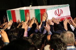 مراسم وداع با پیکر ۳ شهید ایرانی پایگاه هوایی تیفور