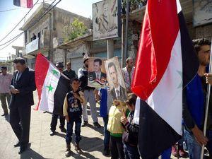 حمایت مردم شهرک حضر از دولت سوریه