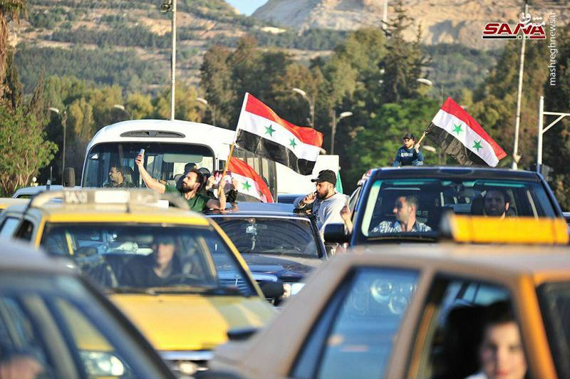 تلویزیون دولتی سوریه نیز صحنههایی از این تجمع حمایتی مردم از دولت اسد را به تصویر کشیده است.