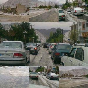 عکس/ بارش تگرگ بهاری در سمنان