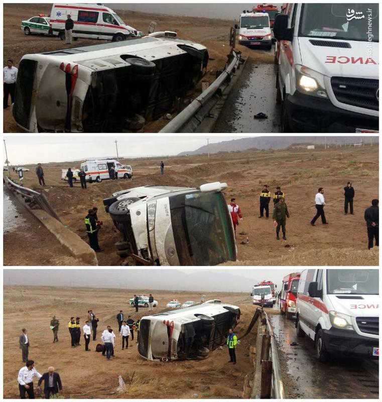 واژگونی اتوبوس حامل اتباع هندوستان در سمنان