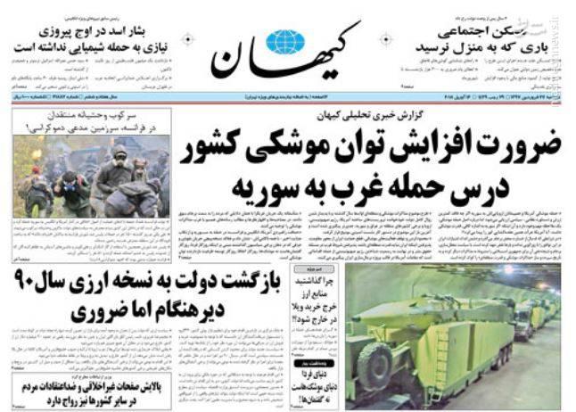 کیهان: ضرورت افزایش توان موشکی کشور درس حمله غرب به سوریه