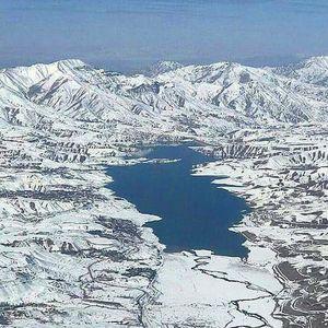 دریاچه سد طالقان پس از برف دیروز