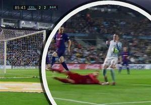 توقف بارسلونای ۱۰ نفره مقابل سلتاویگو با گل مشکوک