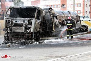 عکس/ تصادف شدید سمند با تانکر حمل سوخت