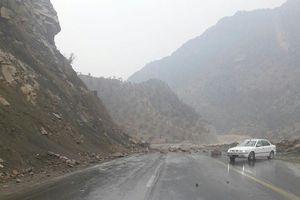 عکس/ ریزش کوه روی جاده در زلزله امروز بوشهر