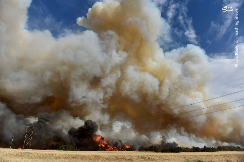 تصویر مهیبی از آتش سوزی بزرگ در مزارع اوکلاهما.