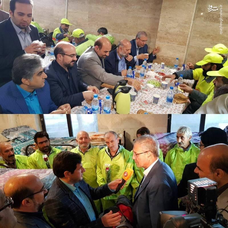 صبحانه علی ربیعی با کارگران