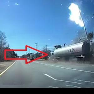 فیلم/ لحظه برخورد تانکر سوخت با دکلبرق