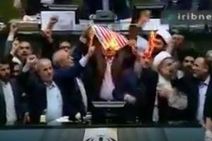فیلم/ به آتش کشیدن پرچم آمریکا در مجلس