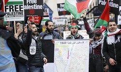 تقابل هواداران فسلطین با صهیونیستها در لندن