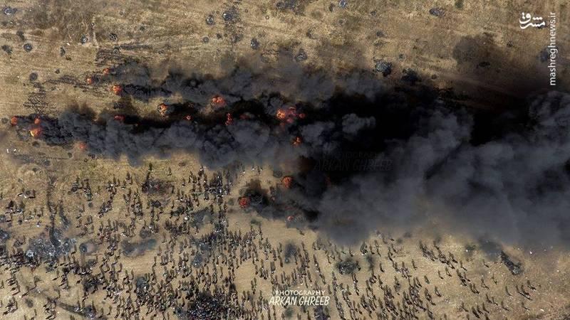 تصویر هوایی از تظاهرات گسترده امروز در نوار غزه