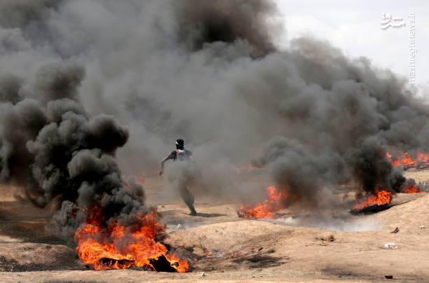 تصاویری از راهپیماییهای بزرگ بازگشت فلسطینیان در نواحی مرزی باریکه غزه