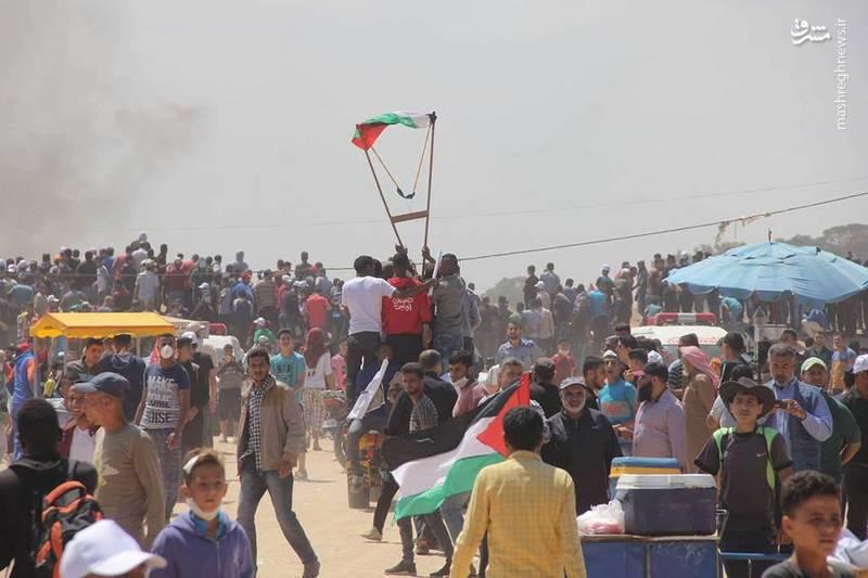 تظاهرات بزرگ بازگشت فلسطینیان در نوار مرزی باریکه غزه