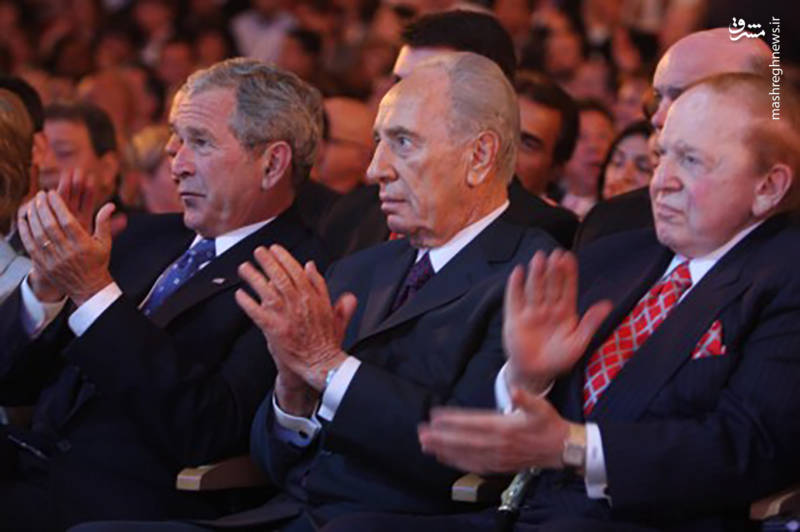 شلدون ادلسون در کنار شیمون پرز و جرج بوش