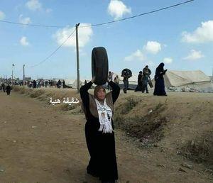 حضور خواهر اسماعیل هنیه در تظاهرات نوارغزه