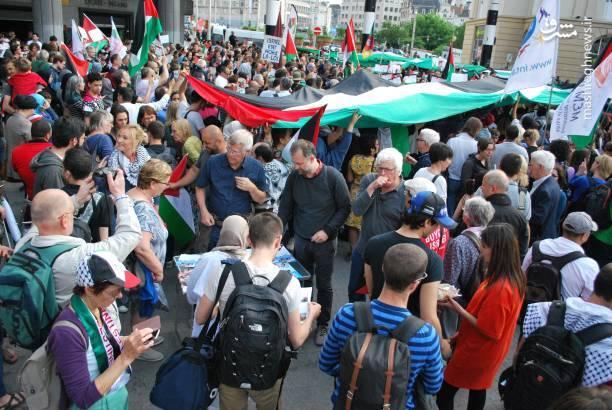 حمایت شهروندان بلژیکی از مردم مظلوم فلسطین