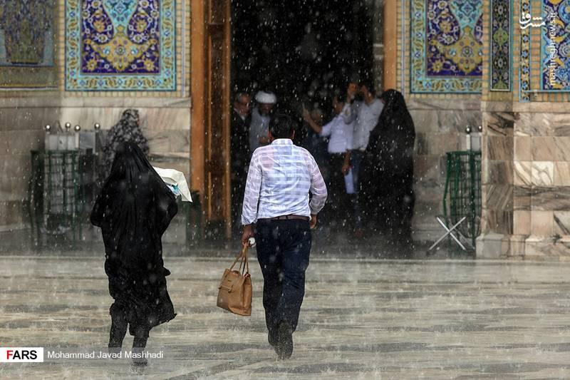 بارش باران بهاری در حرم مطهر رضوی