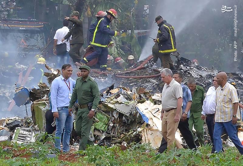 بازدید رئیسجمهور جدید کوبا از محل سقوط یک هواپیمای مسافربری با بیش از 100 مسافر که لحظاتی پس از بلندشدن از باند دچار سانحه شد.