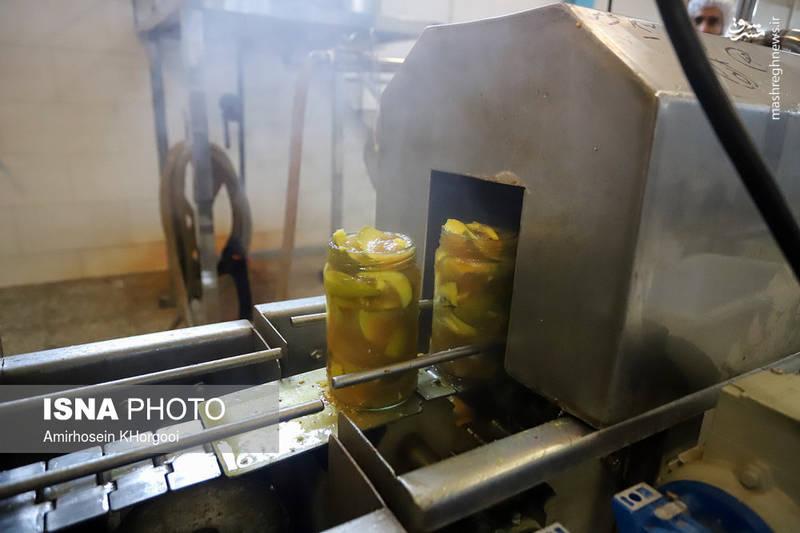 در این مرحله سرکه و دیگر مواد مثل فلفل قرمز که در سرکه مخلوط شده به شیشه انبهها اضافه شده تا محصول آماده بسته بندی شود.