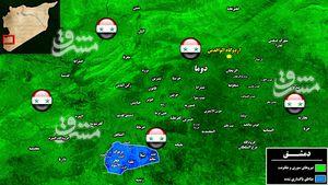 خداحافظی تروریست ها با پایتخت سوریه/ آرامش پس از ۷ سال به استان دمشق بازگشت + تصاویر و نقشه میدانی