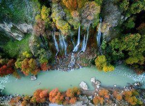 تصویر هوایی زیبا از آبشاری در لرستان