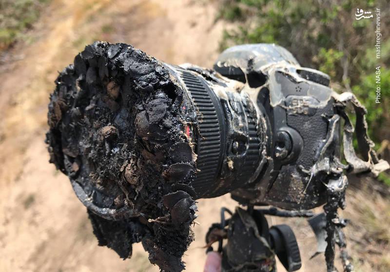 ذوب شدن دوربین یک خبرنگار در فاصله 400 متری از پرواز فالکون 9 به فضا