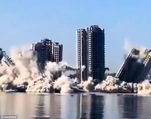 فیلم/ تخریب 4 آسمان خراش در 15ثانیه