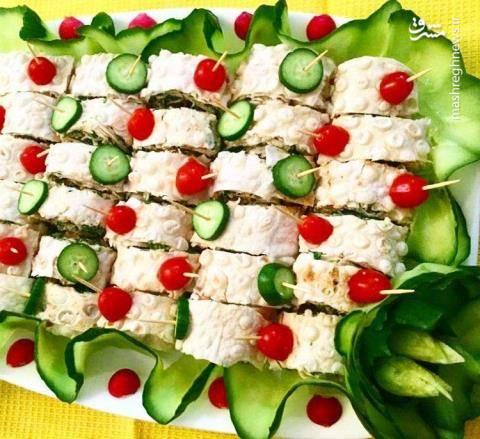 تزیین نان و پنیر و سبزی برای سفره افطار