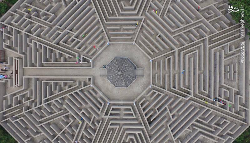 تصویر هوایی از معمای تجسمی در یک منطقه گردشگری در استان شاندونگ چین