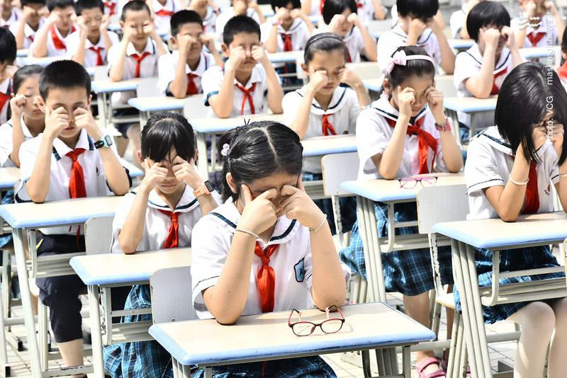 آموزش مراقبت های چشمی در مدرسه ای واقع در استان آنهوی چین