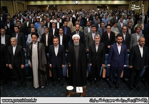 حضور جمعی از وزرای کابینه در دیدار رئیس جمهور و اصحاب رسانه