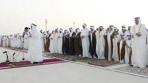 عکس/ حضور امیر قطر در نماز عید فطر