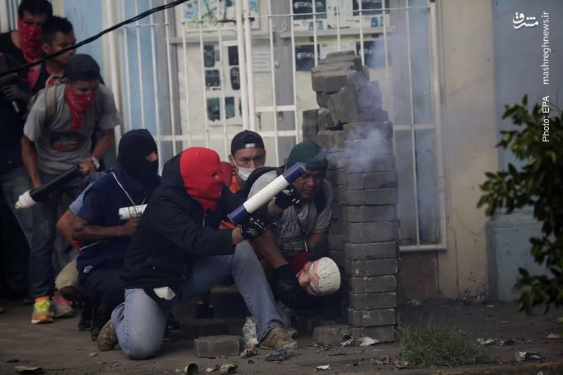 خمپارهانداز دستی در اعتراضات مردم نیکاراگوئه علیه دولت دنیل اورتگا