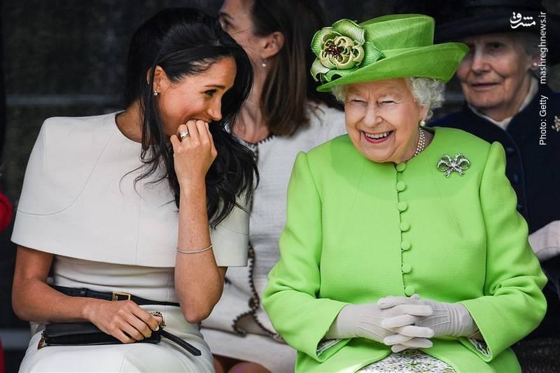 مگان عروس جدید خاندان سلطنتی بریتانیا در اولین سفر رسمی خود بدون همسرش هری در کنار ملکه