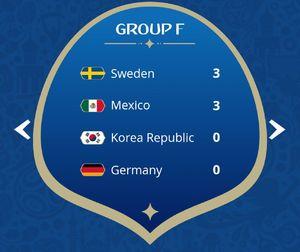عکس/ جدول رده بندی گروه F مسابقات جام جهانی 2018