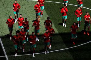 ورود بازیکنان پرتغال و مراکش به استادیوم