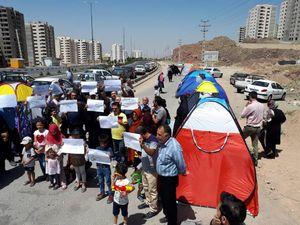 عکس/ تحصن اعتراضی مالکین مسکن مهر پردیس
