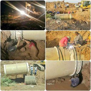 عکس/ تلاش شبانهروزی برای انتقال آب شیرین به آبادان