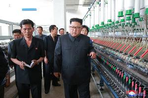 عکس/ بازدید رهبرکره شمالی از کارخانه نساجی
