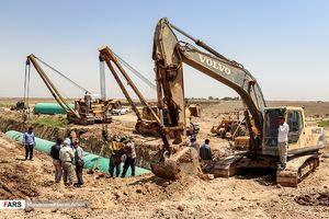 عکس/ روزهای پایانی طرح آبرسانی غدیر